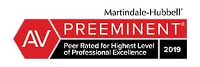 Martindale-hubbell | AV | Preeminent | Peer Rated for Highest Level Of professional Excellence | 2019